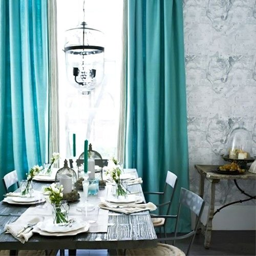 Turquoise is the new black for your living room home decors - Turquoise curtains for living room ...
